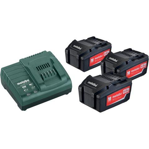 Metabo BAS-SET Laddpaket med 3st 4,0Ah batterier och laddare
