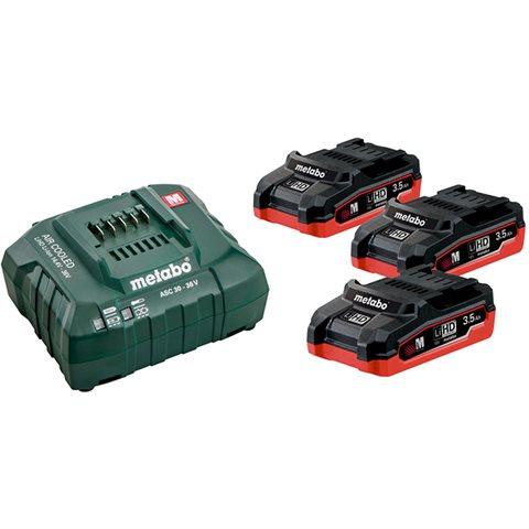 Metabo 685101000 Laddpaket med 3st 3,5Ah batterier och laddare