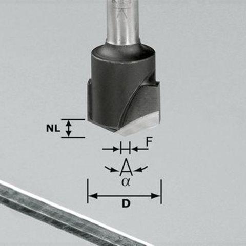 Festool HW S8 D18-135° V-notfräs aluminium, 8mm spindel